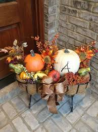 Fall Porch Stand With Hay Pumpkins And Silk Flowers