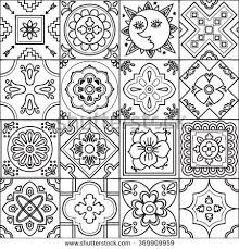 Talavera Set Of 16 Mexican Tiles Seamless Pattern Adult Coloring