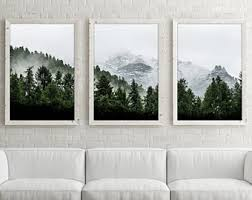 Mountain Wall Art Print Set Of 3 Forest Three