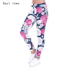 Ravi Town Women Leggings Rose Flare Printed Polyester Clothing Fashion 2017 New Arrival Legins Fitness Skinny