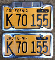 1956 California Truck License Plate Pair K70155 YOM DMV Clear ...