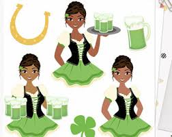Irish Waitress Woman Character Clipart St Patricks Day Green Beer Shamrock