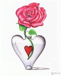 Drawn Red Rose Vase Drawing Draw The Flower
