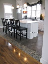 Laminate Floor Transitions To Tiles by Awesome Dark Ideas Awesome Dark Ocean Pebble Tile Kitchen Floor