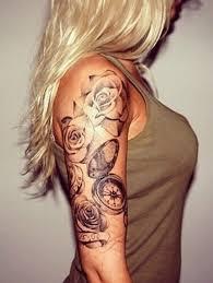 Half Sleeve Rose Compass Tattoo Design For Girls