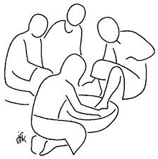 Jesus Foot Washing Coloring Page Clipart