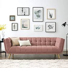 104 Modren Sofas Amazon Com Volans Mid Century Modern Tufted Fabric Upholstered 90 Inch Arm Settee Sofa Chaise Couch With Wood Legs For Office Living Room Bedroom Dorm Coral Pink Everything Else