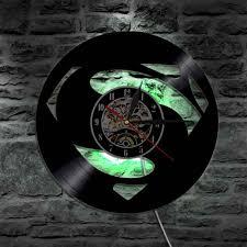 großhandel superman handmade led vinyl uhr silhouette wandleuchte fernbedienung kunst hintergrundbeleuchtung coole wohnzimmer dekor farbwechsel