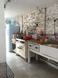 vintage kitchen in country style wall with vintage white brick