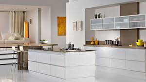 Kitchen Luxury Modern Glass Cabinet Door With White And Rectangle Island Plus Brown Breakfast Bar