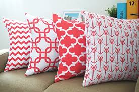 Coral Colored Decorative Accents by Howarmer 18x18 Inch Geometric Pattern Canvas Cotton Decorative