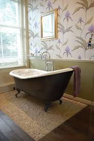 Traditional Bathroom Wallpaper Victorian With Wall Decor Pebble Tiles Art