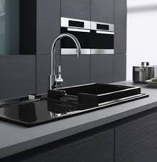 Black Kitchen Sink Faucet by Interior Modern Monochrome Kitchen Come With Luxury Black Glossy
