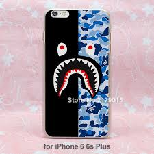 half bape Shark Gifts Pattern hard transparent clear Cover Case