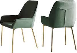 salesfever esszimmer stuhl 2er set linnea in grün polsterstuhl in samt optik mit armlehnen gestell messing farben sitz und rückenpolsterung