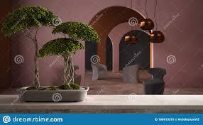 vintage holztischablage mit töpfgrün bonsai keramikvase
