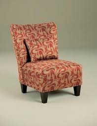 √ Armless Accent Chair With Red And Gold Cover Pattern Color