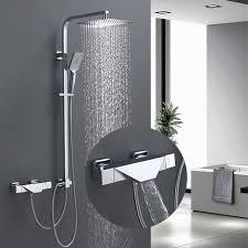 thermostat duschsystem mit trennbar badewannenarmatur wasserfall duscharmatur duschset 3 funktion handbrause überkopfbrause duschstange regendusche