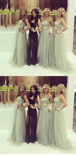 Stylish A Line Straight Across Light Grey Long Tulle Bridesmaid