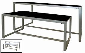 This Nesting Display Table Set Is Constructed Of Durable 1 2 Tubing In A Silver Finish With Reversible Black White Laminate Tabletop