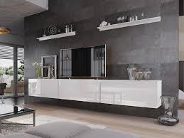 mirjan24 wohnwand boxing vi tv möbel stilvoll anbauwand wohnzimmer set wandregal weiß weiß hochglanz mit füße