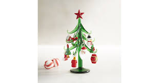 Glass Tree With Ornaments Collectible 18