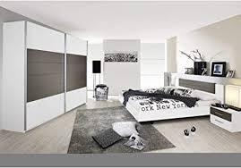 rauch möbel schlafzimmer weiß lavagrau bestehend aus bett mit liegefläche 160x200 cm inklusive 2 nachttische und schwebetürenschrank bxhxt