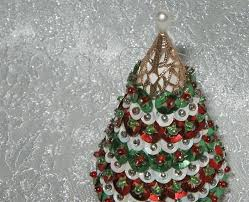 Vintage Sequin Christmas Tree Ornament Beaded Red And Green Sequins