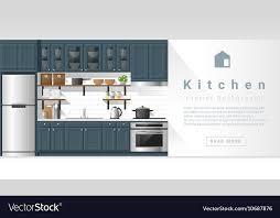 Interior Design Modern Kitchen Background 5 Stock Vektor Interior Design Modern Kitchen Background 4 Vector Image