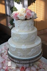 Three Tier Wedding Cake With Lace Appliques