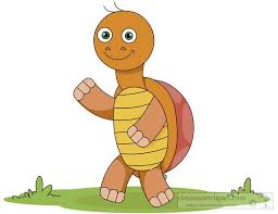 smiling waving cartoon turtle character clipart 611