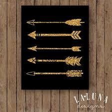 Arrow Print Wall Art Gold Glitter By LaLunaDesigns