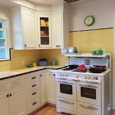 Carolyns Gorgeous 1940s Kitchen Remodel Featuring Yellow Tile With Maroon Trim