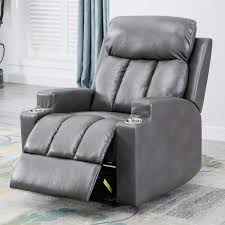 Bonzy Home Recliner Chair Leather Manual Lift Recliner With Cup Holder -  Home Theater Seating - Bedroom & Living Room Reclining Sofa Chair (Gray) Modern Faux Leather Recliner Adjustable Cushion Footrest The Ultimate Recliner That Has A Stylish Contemporary Tlr72p0 Homall Single Chair Padded Seat Black Pu Comfortable Chair Leather Armchair Hot Item Cinema Real Electric Recling Theater Sofa C01 Power Recliners Pulaski Home Theatre Valencia Seating Verona Living Room Modernbn Fniture Swivel Home Theatre Room Recliners Stock Photo 115214862 4 Piece Tuoze Fabric Ergonomic