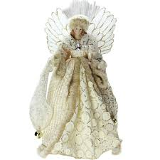 Lighted B O Fiber Optic Angel In Golden Sequined Gown Christmas