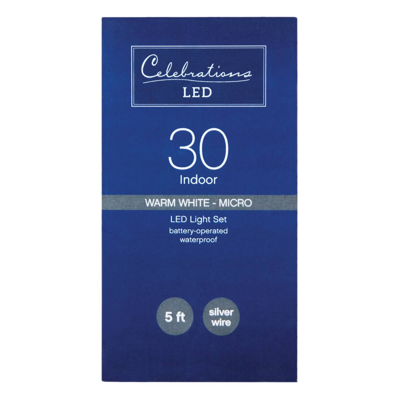 Celebrations LED Battery Operated Micro Light Set - Warm White, 5ft, 30 Lights
