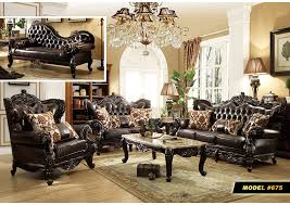 Living Room Dark Brown Leather Sofa W Rich Cherry FinishMeridian Furniture