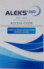 Aleks 360 For Math Student Access Code Blue 13 Weeks MAT1033 Broward College