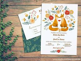 Romantic Foxes And Rustic Foliage Wedding Invitation Set
