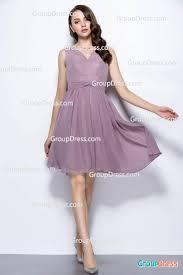 sheer v neck grey purple above knee length chiffon bridesmaid