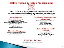 Population Health Council President CEO Matrix Human Services