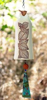 Unique Spring White Ceramic Wind Chime Garden Bell W Leaves Patina Copper Sculptured Bird Rustic Decor NEW In STOCK