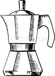 Coffee Maker Sketch Icon With Italian Pot For Produce Espresso Isolated On White Background