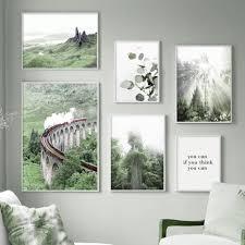 zug eukalyptus riesen baum grün mountainwall kunst leinwand malerei nordic poster und drucke wand bilder für wohnzimmer decor