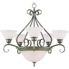 Pewter Center Bowl Chandeliers Lighting The Home Depot