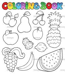 Fruits Coloring Book And Vegetables Pictures Peach