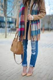 Distressed Jeans Tan Coat Colorful Scarf