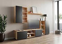 matkam wohnwand dedal schrankwand wohnzimmer modern wohnzimmerschrank mit fernsehtisch komplett möbel artisan eiche schwarz