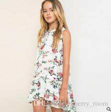 Flower Big Girls Dresses 2016 New Bohemian Style Ruffle Sleeveless