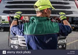 100 Semi Service Truck Equipment Caucasian Worker Opening Hood And Preparing